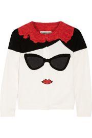 Alice   Olivia   Stace Face Frida intarsia cotton cardigan at Net A Porter