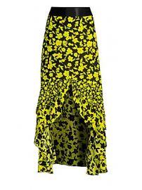 Alice   Olivia - Sueann Silk Ruffle Midi Skirt at Saks Fifth Avenue