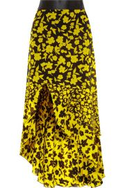 Alice   Olivia - Sueann asymmetric tiered floral-print satin-trimmed silk crepe de chine skirt at Net A Porter