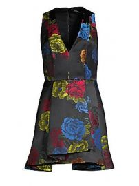 Alice   Olivia - Tanner Asymmetric Floral Mini A-Line Dress at Saks Fifth Avenue