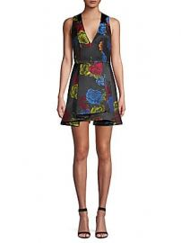 Alice   Olivia - Tanner Asymmetric Floral Mini A-Line Dress at Saks Off 5th