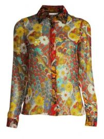 Alice   Olivia - Willa Metallic Floral Shirt at Saks Fifth Avenue