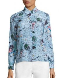 Alice   Olivia - Willa Silk Printed Shirt at Saks Fifth Avenue