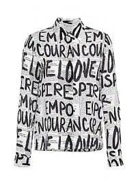 Alice   Olivia - Willa Slogan Print Silk Shirt at Saks Fifth Avenue