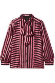 Alice   Olivia - Willis pussy-bow striped satin and chiffon blouse at Net A Porter