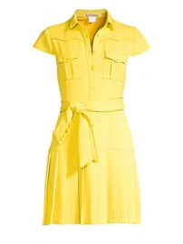 Alice   Olivia - Yoko Short-Sleeve Pleated Shirt Dress at Saks Fifth Avenue