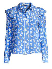 Alice   Olivia - Zimmer Silk Ruffle Sleeve Blouse lt br gt at Saks Fifth Avenue