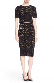 Alice   Olivia   x27 Ines  x27  Multicolor Pointelle Knit Crop Top   Nordstrom at Nordstrom