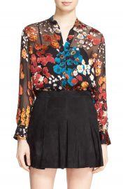 Alice   Olivia  Belle  Floral Print Sheer Oversize Tunic at Nordstrom