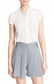 Alice   Olivia  Jaclyn  Pleated Stretch Silk Blouse at Nordstrom