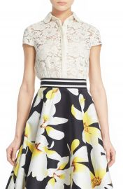 Alice   Olivia  Loni  Lace Cropped Shirt at Nordstrom