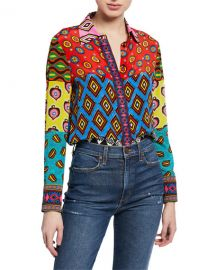 Alice   Olivia AO x CARLA Willa Ribbon Combo Placket Top at Neiman Marcus