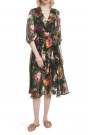 Alice   Olivia Abney Floral Wrap Shirtdress at Nordstrom
