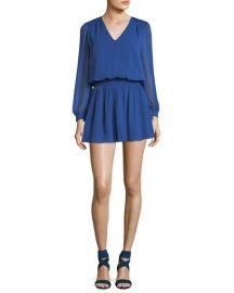 Alice   Olivia Adaline V-Neck Smocked Waist Chiffon Mini Dress at Neiman Marcus