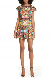 Alice   Olivia Ainsley Floral Double Ruffle Stretch Cotton Minidress   Nordstrom at Nordstrom
