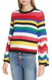 Alice   Olivia Alivia Stripe Bell Sleeve Cotton Blend Sweater   Nordstrom at Nordstrom