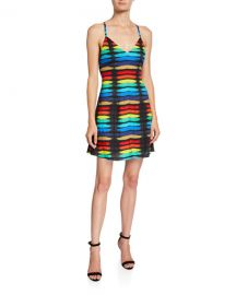 Alice   Olivia Alves Cross-Back Flare Dress at Neiman Marcus