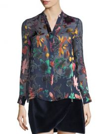 Alice   Olivia Amos Mock-Neck Burnout Velvet Tunic at Neiman Marcus