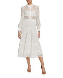 Alice   Olivia Anaya Collared Tiered Dress at Neiman Marcus