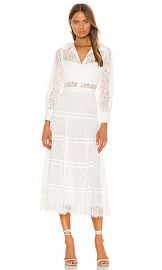 Alice   Olivia Anaya Collared Tiered Dress in Off White from Revolve com at Revolve