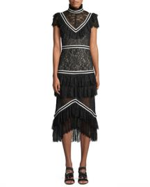Alice   Olivia Annetta Pleated Tier Ruffle Dress at Neiman Marcus