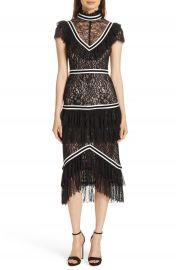 Alice   Olivia Annetta Tiered Lace Midi Dress   Nordstrom at Nordstrom