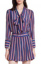 Alice   Olivia Arie Tie-Neck Stripe Silk Blouse   Nordstrom at Nordstrom