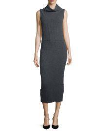 Alice   Olivia Arra Sleeveless Ribbed Turtleneck Midi Dress  Charcoal at Neiman Marcus