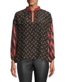 Alice   Olivia Asha Blouson-Sleeve V-Neck Blouse at Neiman Marcus