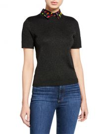 Alice   Olivia Aster Short-Sleeve Collared Pullover Sweater at Neiman Marcus