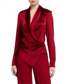 Alice   Olivia Aurora Draped Shawl-Collar Wrap Top at Neiman Marcus