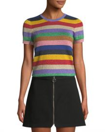 Alice   Olivia Baylor Short-Sleeve Striped Crewneck Top at Neiman Marcus