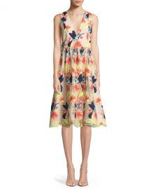 Alice   Olivia Becca Hummingbirds Sleeveless V-Neck Tea-Length at Neiman Marcus