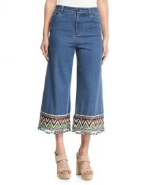 Alice   Olivia Beta Embroidered Pom-Pom Hem Cropped Jeans  Multi at Neiman Marcus