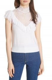 Alice   Olivia Beth Lace Ruffle High Neck Top   Nordstrom at Nordstrom