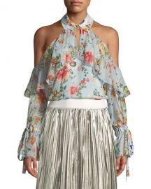 Alice   Olivia Blayne Cold-Shoulder Floral-Print Silk Blouse   Neiman at Neiman Marcus