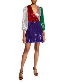 Alice   Olivia Blaze Sequined Blouson-Sleeve Dress at Neiman Marcus