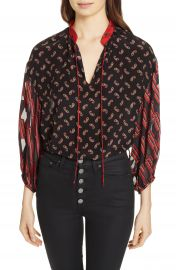 Alice   Olivia Blouson Sleeve Mixed Print Top   Nordstrom at Nordstrom