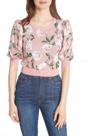 Alice   Olivia Brandy Floral Puff Crop Sweater at Nordstrom
