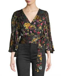 Alice   Olivia Bray Pleated-Sleeve Wrap Top at Neiman Marcus