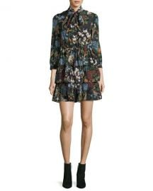 Alice   Olivia Breann Tiered Tie-Neck Floral-Print Dress at Neiman Marcus