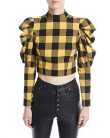 Alice   Olivia Brenna Check Puff-Sleeve Top at Neiman Marcus