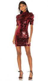 Alice   Olivia Brenna Sequin Fitted Puff Sleeve Dress in Bordeaux from Revolve com at Revolve