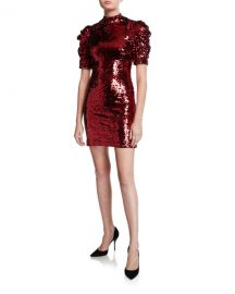 Alice   Olivia Brenna Sequin Mock-Neck Puff-Sleeve Fitted Dress at Neiman Marcus