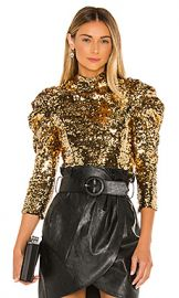 Alice   Olivia Brenna Sequin Puff Sleeve Top in Gold from Revolve com at Revolve