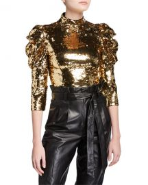 Alice   Olivia Brenna Sequined Fitted Puff-Sleeve Top at Neiman Marcus