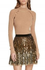 Alice   Olivia Button Cutout Wool Sweater at Nordstrom