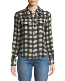 Alice   Olivia Caleb Western Button-Down Top at Neiman Marcus