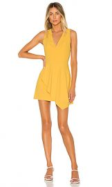 Alice   Olivia Callie Asymmetrical Drape Dress in Golden Rod from Revolve com at Revolve