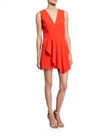 Alice   Olivia Callie V-Neck Sleeveless Asymmetric Drape Short Dress at Neiman Marcus